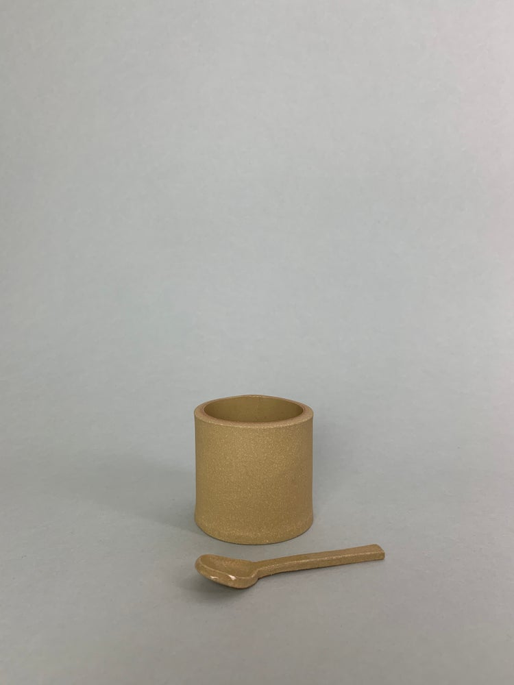 Image of Yellow Salt Pot With Ceramic Spoon
