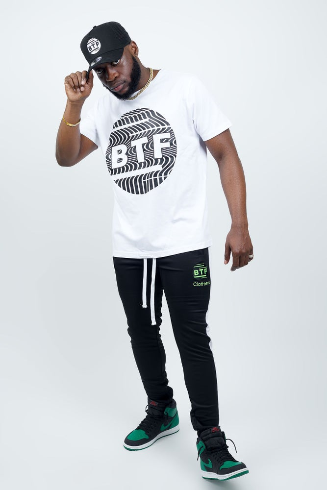 Image of BTF WHITE SIDE PANEL LONG STRING JOGGERS