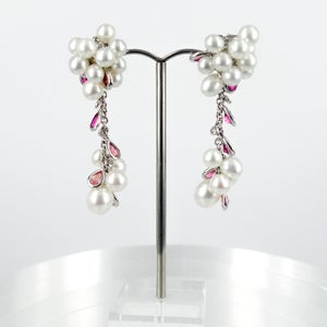 Image of Dramatic Keshi Pearl, Pink Tourmaline & Diamond long drop earrings. Cp0947