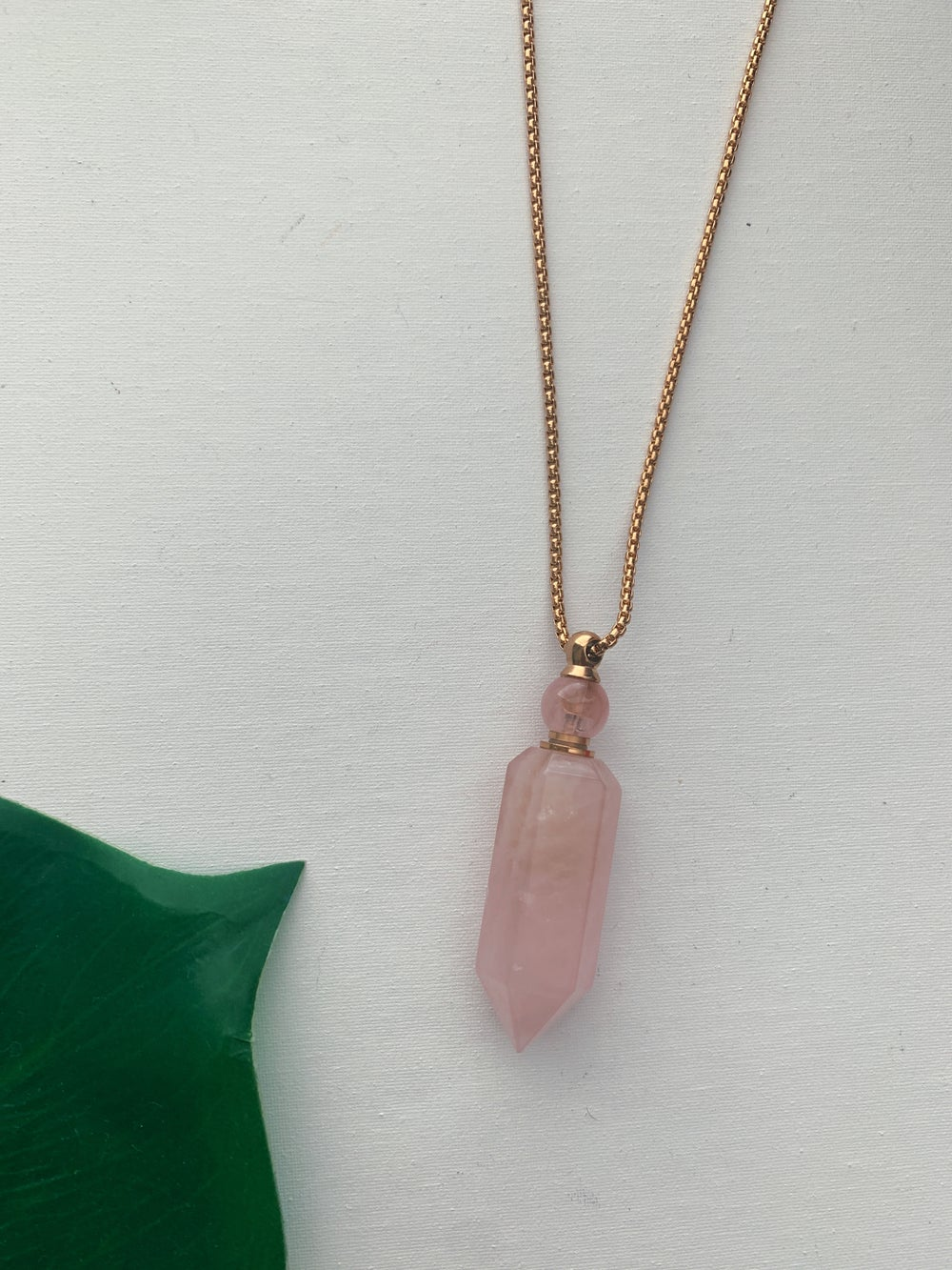 Image of OG ANGEL ROSE • Rose Quartz Potion Flask Necklace