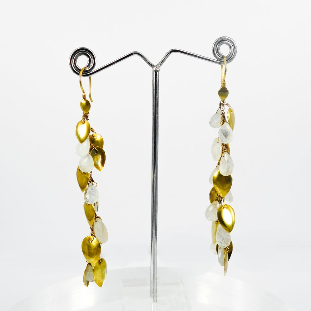 Image of Long crystal and sterling silver yellow gold long drop earrings. E2