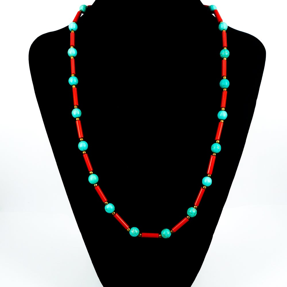 Image of Coral & Turquoise necklace. NL3