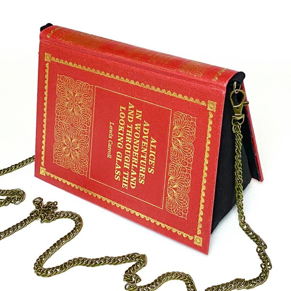 Image of Alice's Adventures in Wonderland and Through the Looking Glass, Red Book Purse
