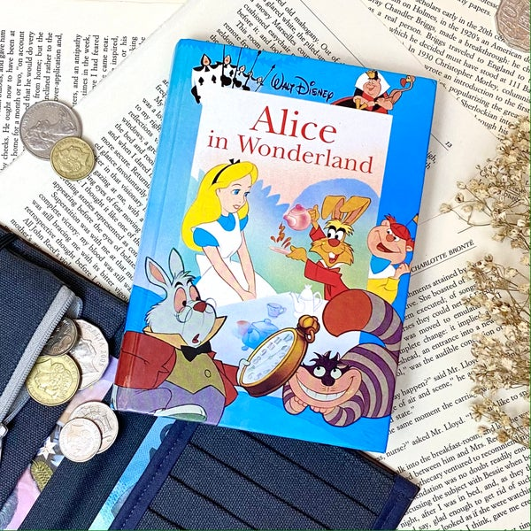 Image of Alice in Wonderland Book Wallet Blue