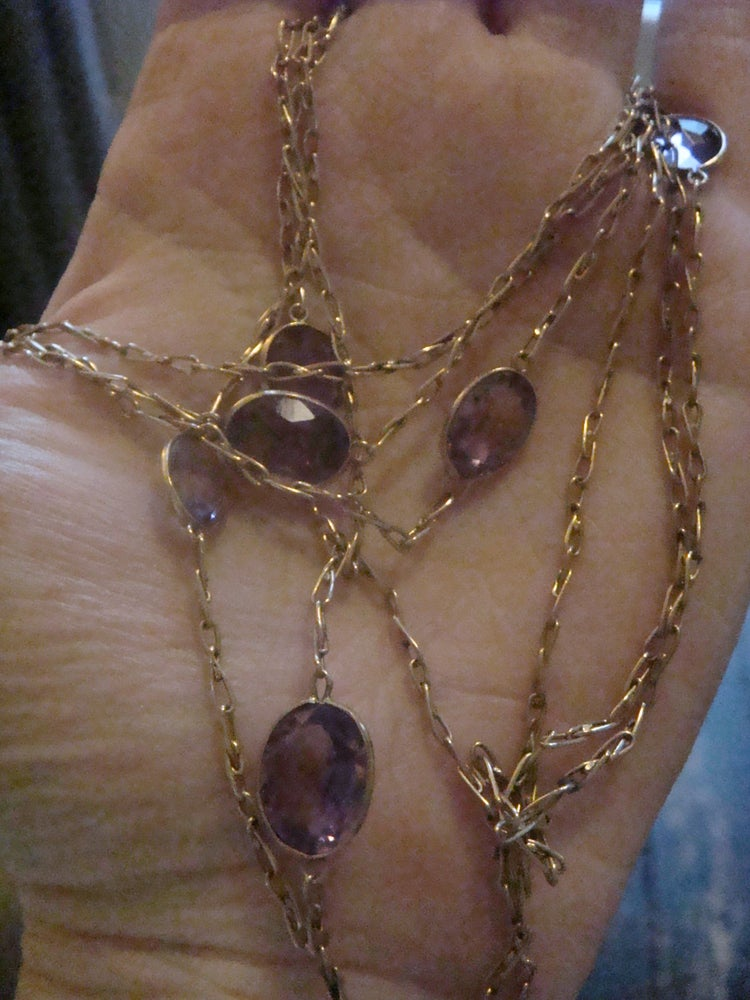 Image of EDWARDIAN 9CT FANCY LINK AMETHYST LONGUARD 16.4G 60 INCHES CHAIN