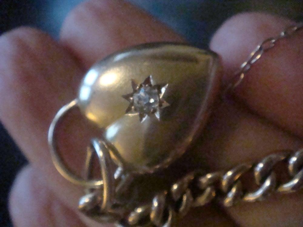Image of EDWARDIAN 9CT ROSE LARGE CURB LINK BRACELET WITH 15CT DIAMOND PUFF HEART PADLOCK