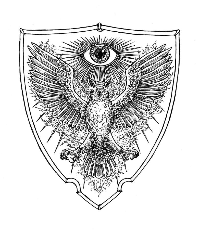 Image of WISDOM - coat of arms original artwork.