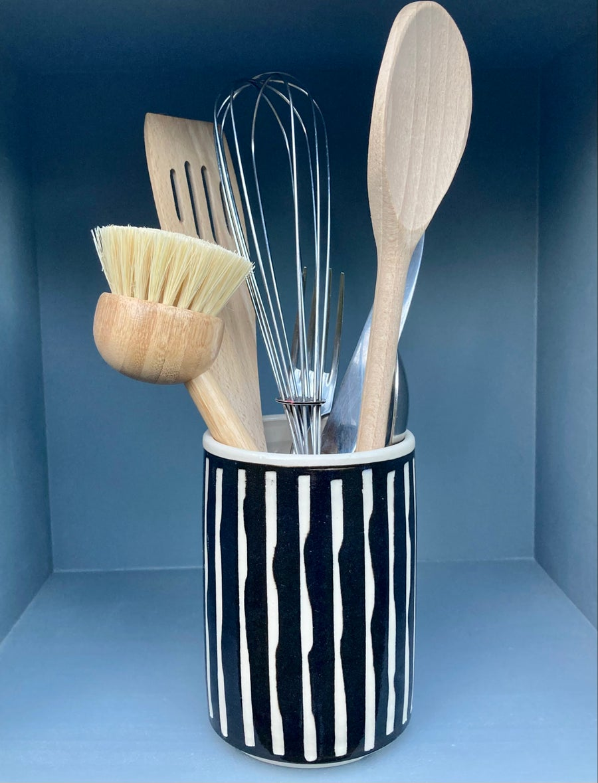 Image of Black Ceramic Cutlery Drainer