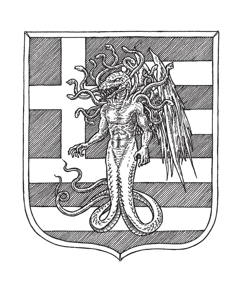 Image of SOLD - WISDOM - Coat of arms original artwork (Greece)