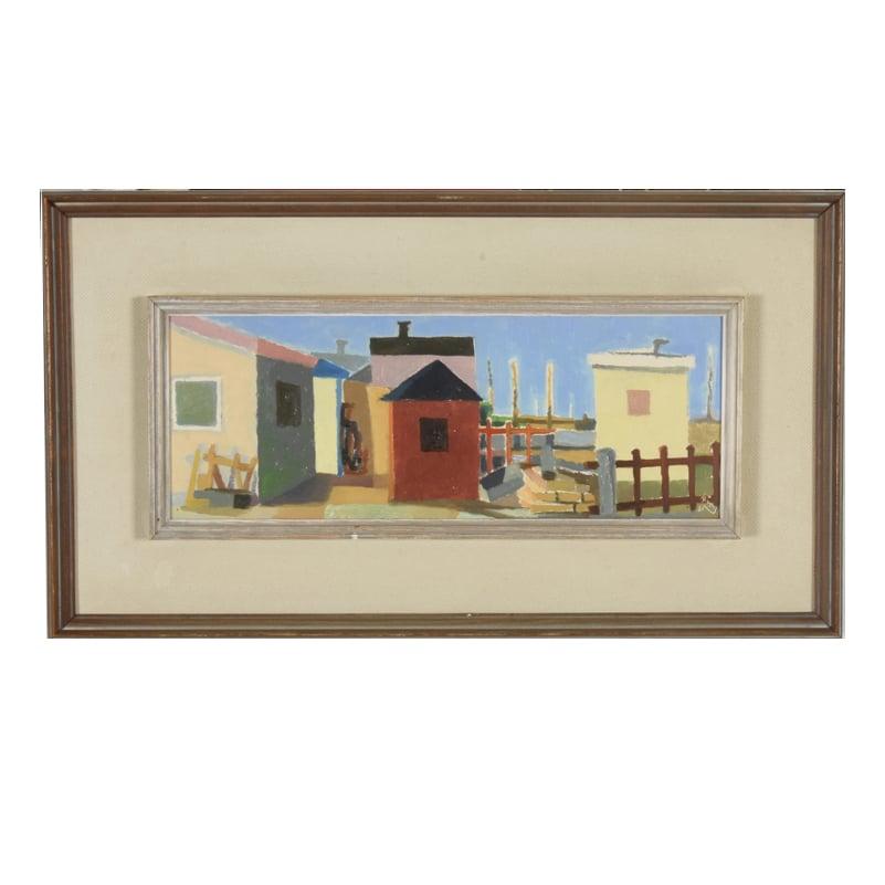Image of 1961, Swedish Painting, Fishermen's Huts, Ragnor Ring
