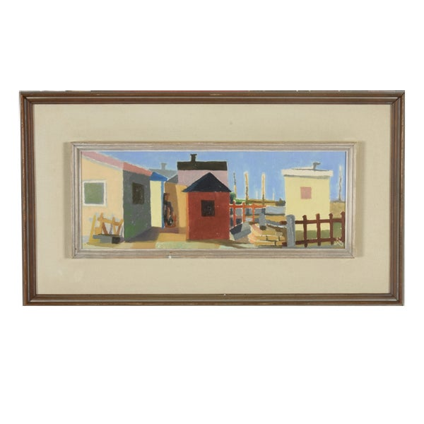 Image of 1961, Swedish Painting, Fishermen's Huts, Ragnor Ring