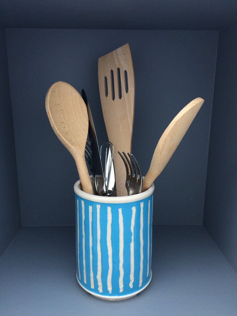 Image of Turquoise Ceramic Cutlery Holder