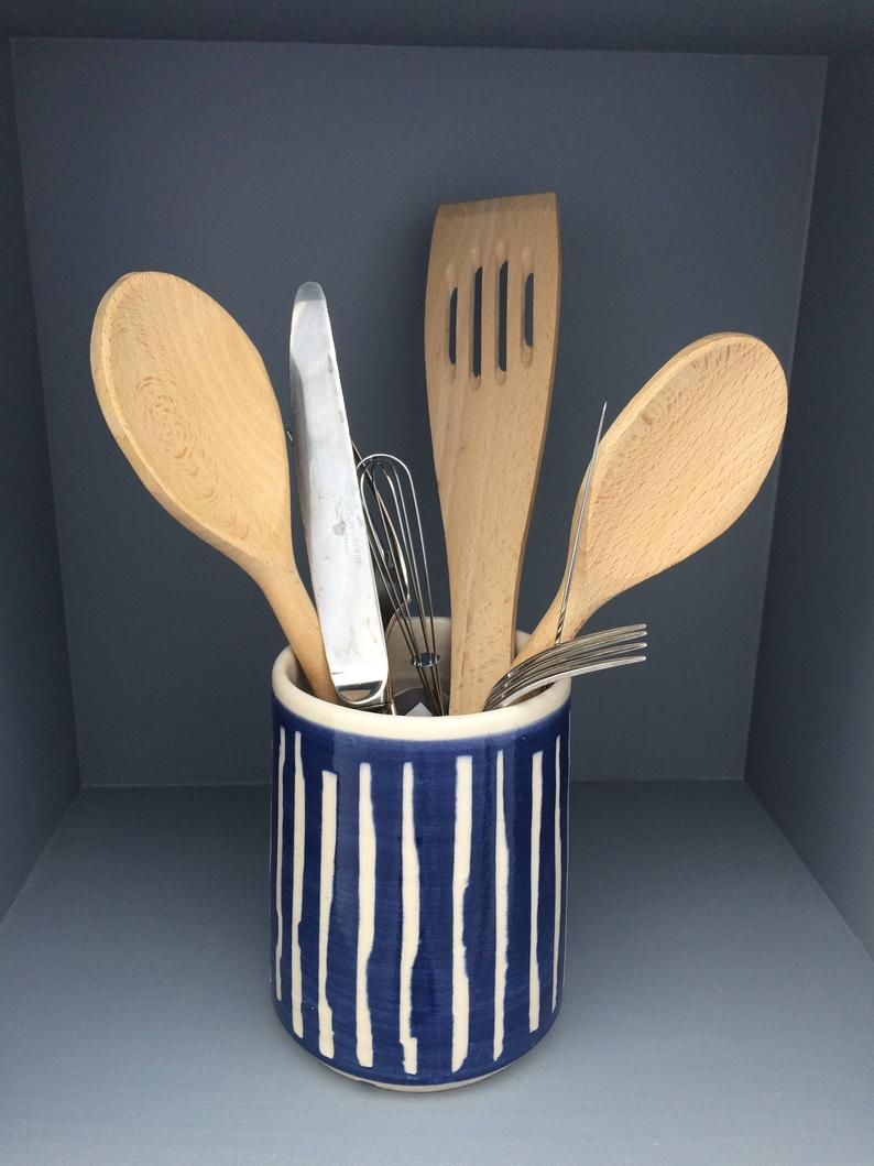 Image of Blue Ceramic Cutlery Holder