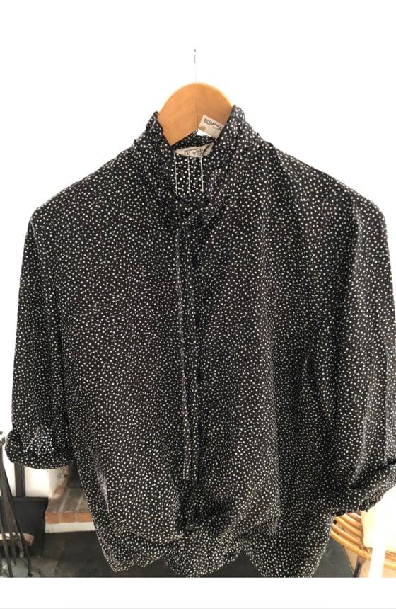 Image of Chemise vintage noir petit imprimé blanc