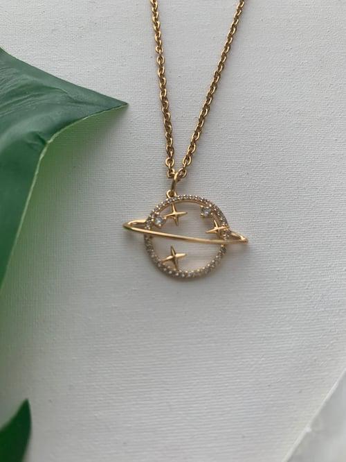 Image of CELESTIA • CZ Planet Pendant Necklace