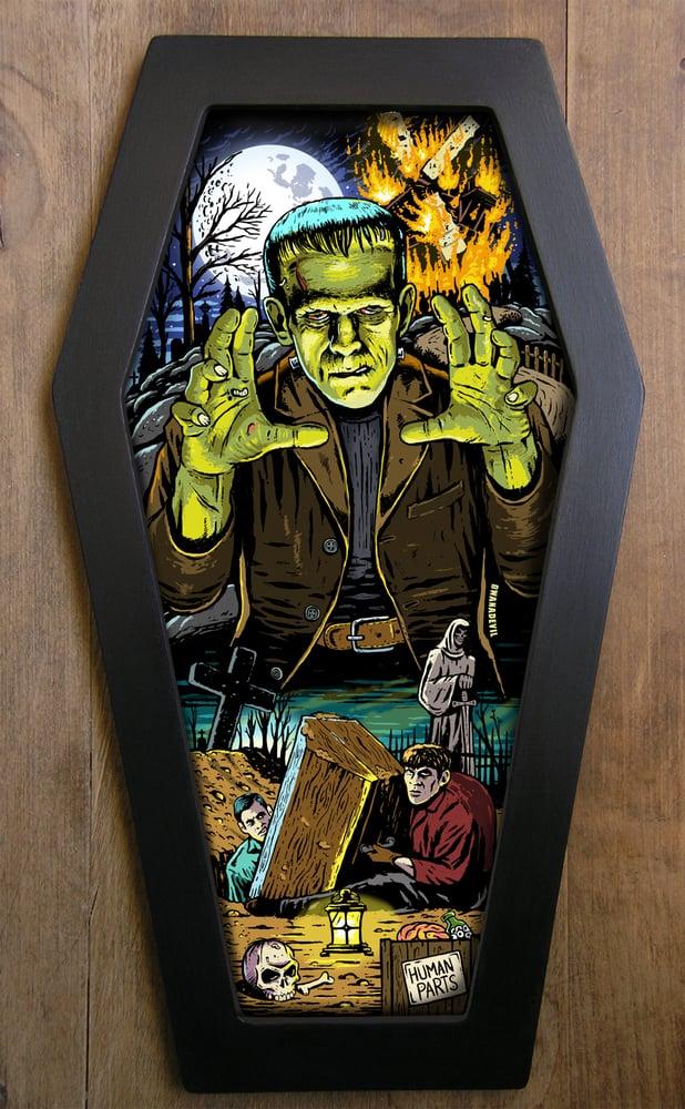 Image of Frankenstein (Monster) Coffin Framed Art Limited Edition