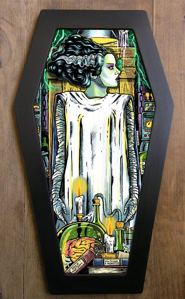 Image of Bride of Frankenstein Coffin Framed Art Limited Edition