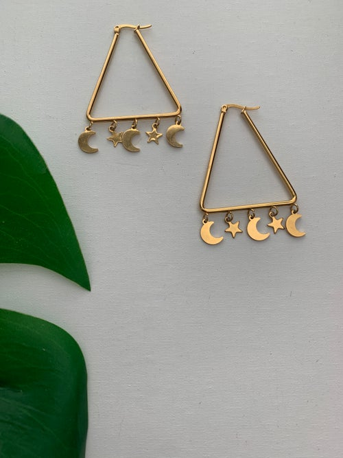 Image of MOON SEED • Moon and Star Earrings