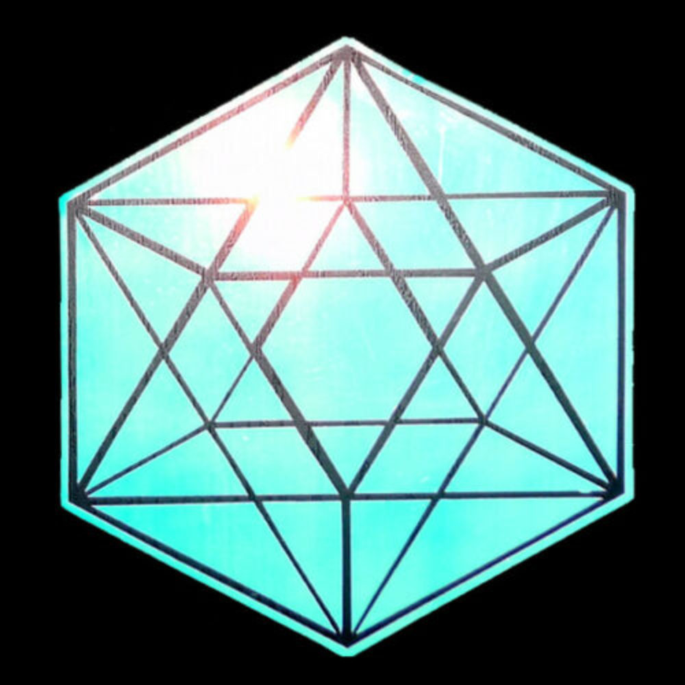 "Image of HOLOGRAPHIC CHROME OPAL SACRED GEOMETRY VINYL 5"" STICKER"