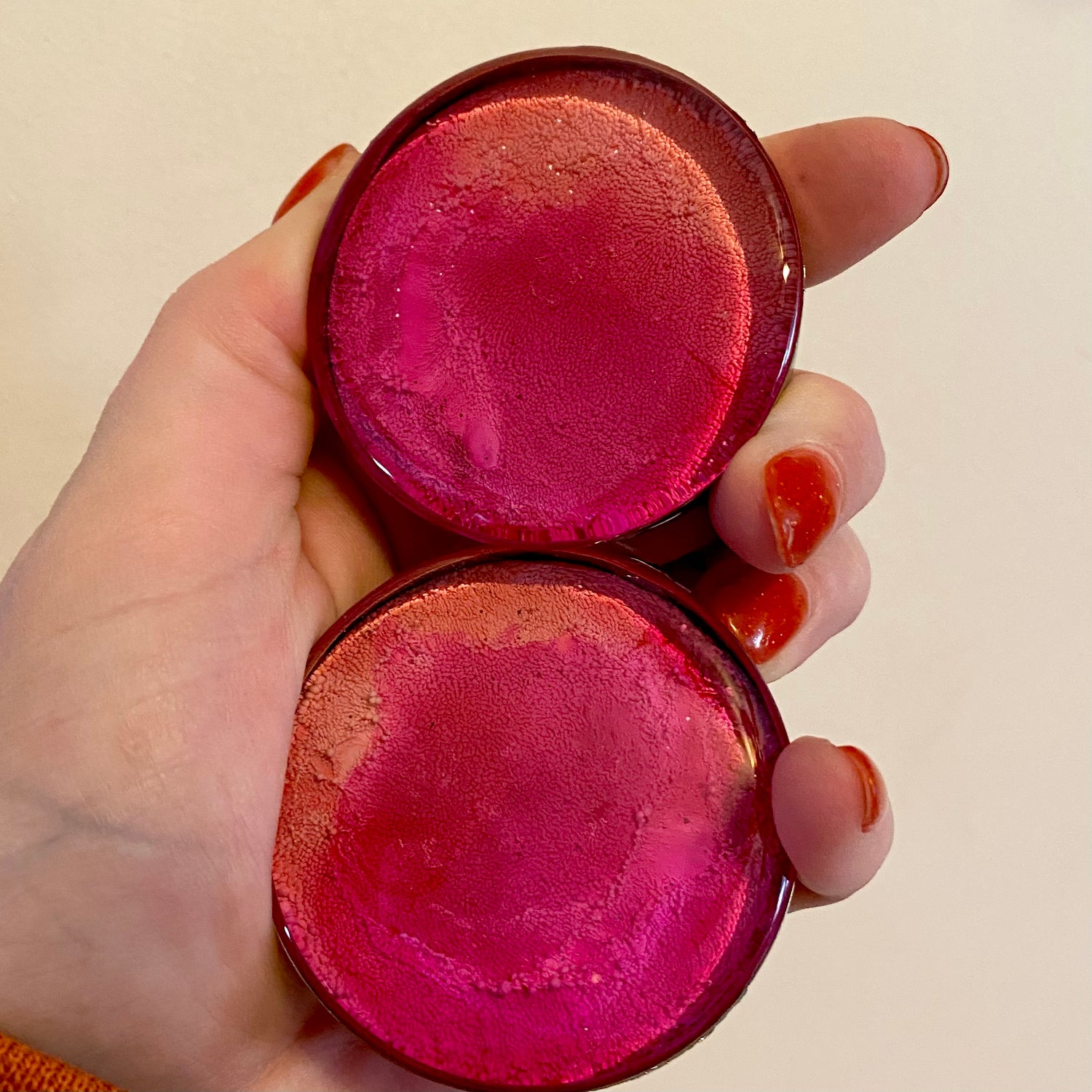 "Image of 2"" Pink/Orange Inky Plugs"