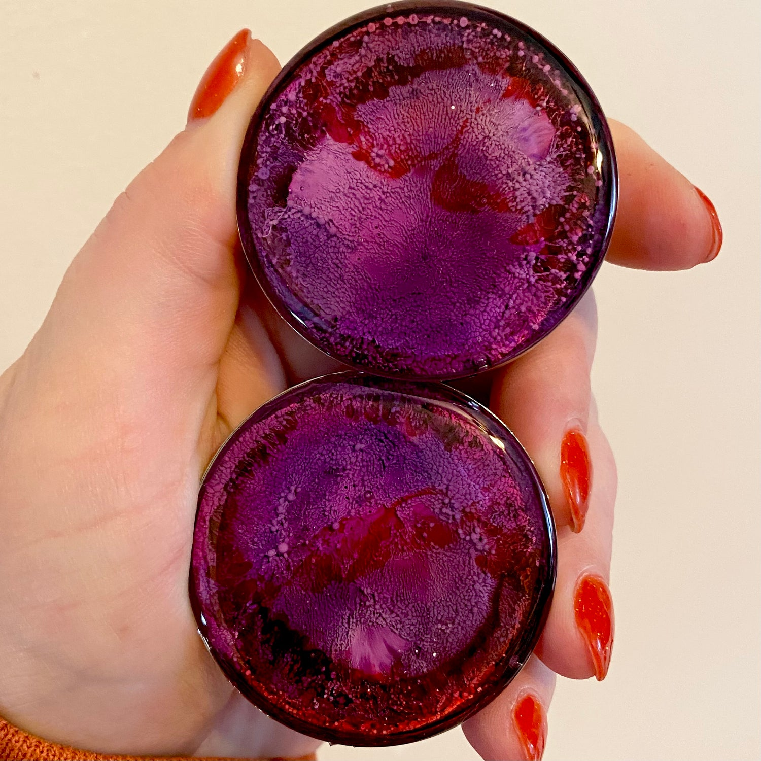 Image of 1 3/4 Pink/Purple/Red Inky Plugs