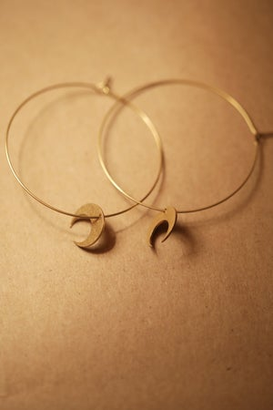 Image of Brass Hoops & Crescent Moons