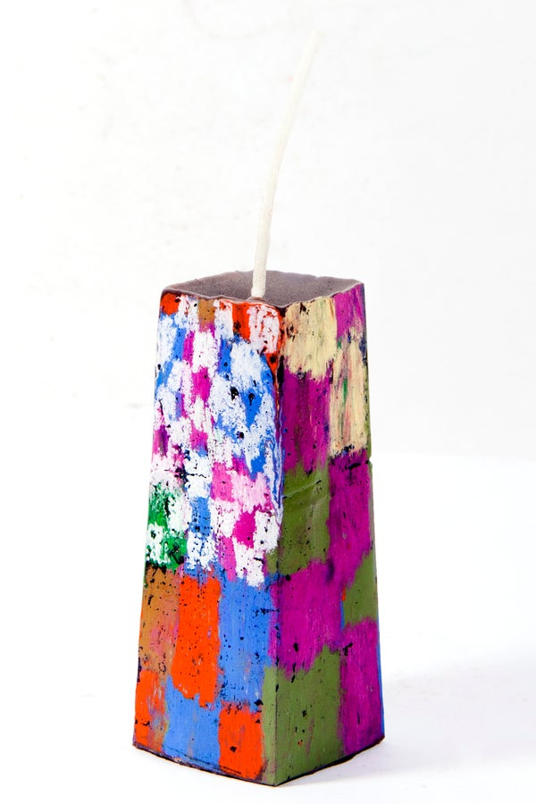 Image of Mid Stack Tower in olive, magenta, brown, red, blue, white, clay pink, red, blue, green & grey