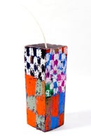 Image 3 of Mid Stack Tower in olive, magenta, brown, red, blue, white, clay pink, red, blue, green & grey