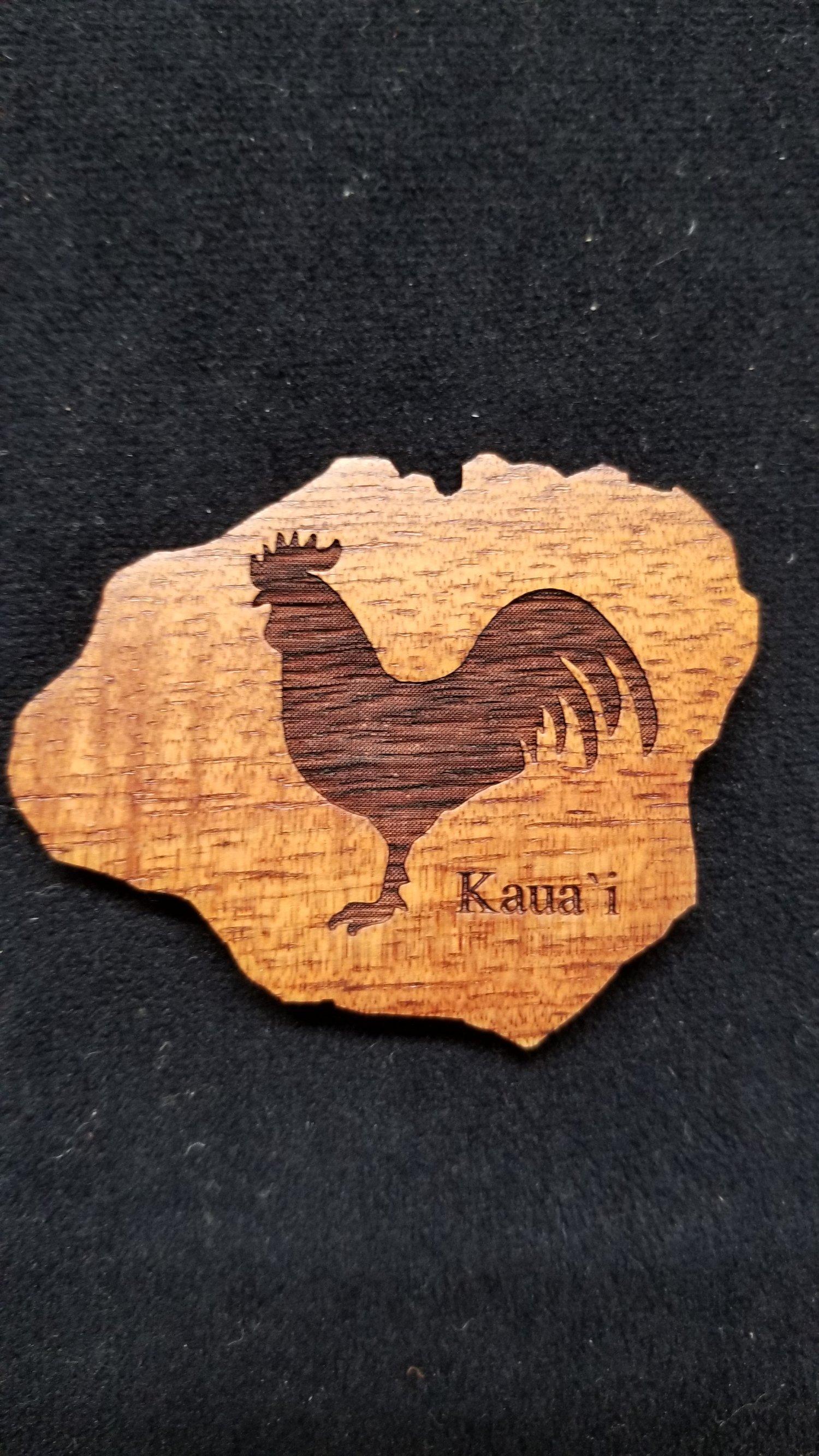 Image of Koa Wood Rooster Magnet