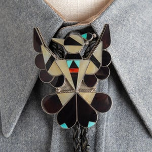 Image of Zuni Inlay Thunderbird Bolo Tie by A. Dishta Zuni Silversmith Large with Turquoise, Shell, MOP
