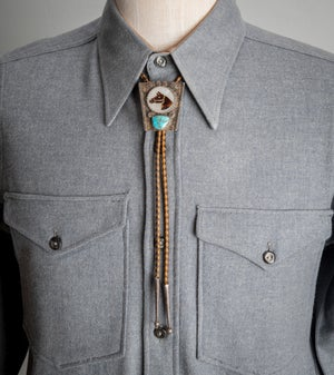Image of Zuni Horse Head Bolo Tie by Isabel Simplicio with large Turquoise Stone on Sterling Silver