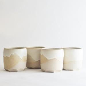 Image of set of 4  stoneware altered tumblers