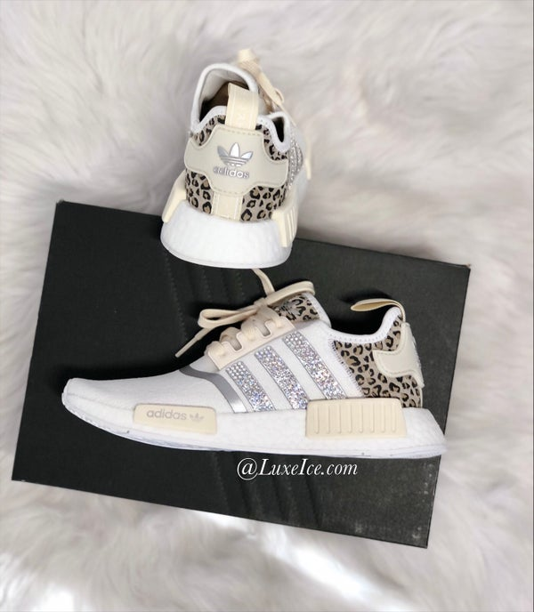 Image of Adidas NMD R1 Women's Running Casual Shoes Animal Cheetah Print customized with Swarovski Crystals.