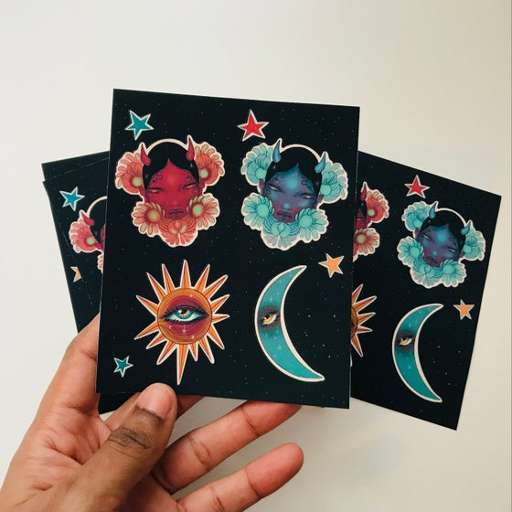 Image of Sun and moon sticker sheet