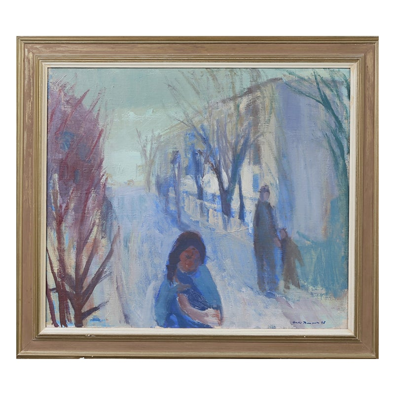 Image of 1948, Swedish Painting, 'Girl with a Puppy,' BERTIL BERNTSSON