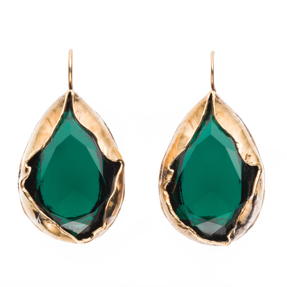 Image of EARRINGS/ORECCHINI ORV18 GOLD EMERALD