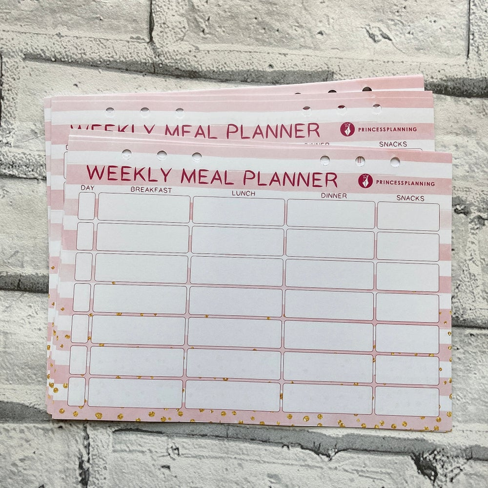 Image of A5 STRIPED PINK MEAL PLANING ORGANISER INSERTS
