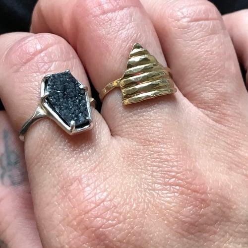 Image of Black Druzy Coffin Ring
