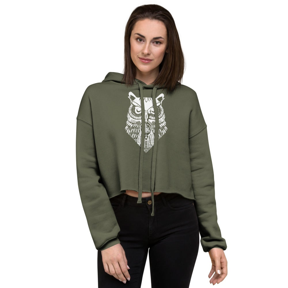 Shallow Side White Owl Crop Hoodie
