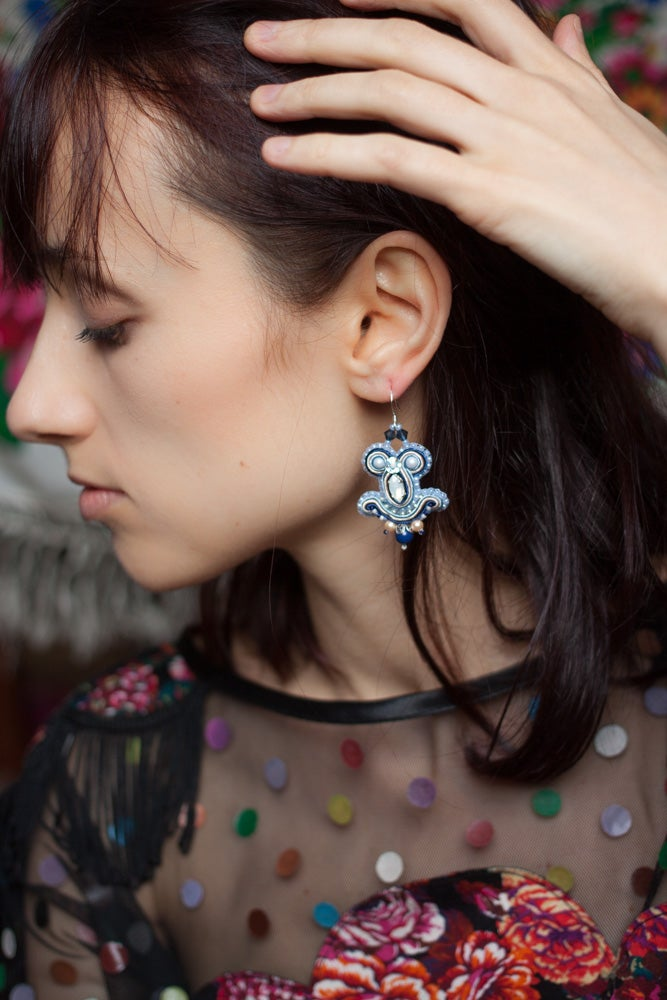 Image of Miracle Earrings - Nightcall - Petites boucles brodées