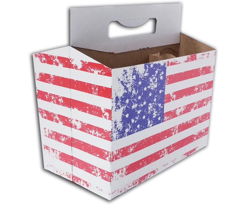 Image of 6 Pack American Flag 12oz Bottle Carrier