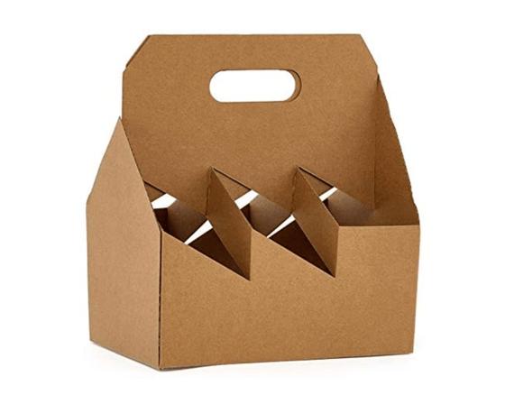 Image of 6 Pack Kraft Wine Cardboard Carrier
