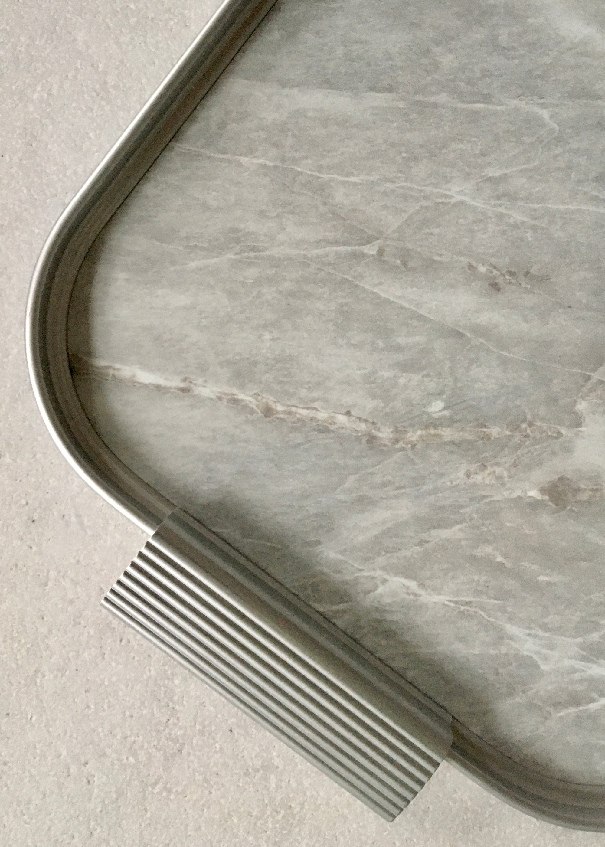 Image of Kaymet Tray Light Marble/Silver