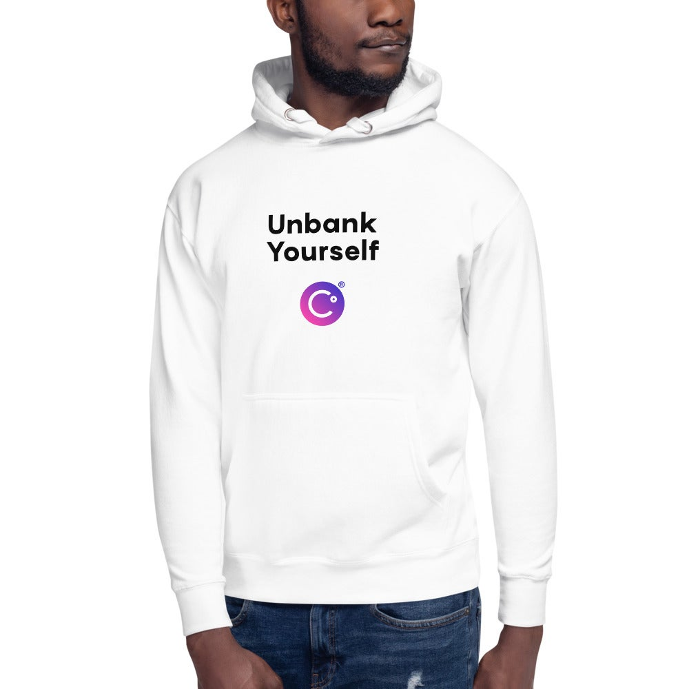 Image of Unbank Yourself Unisex White Hoodie