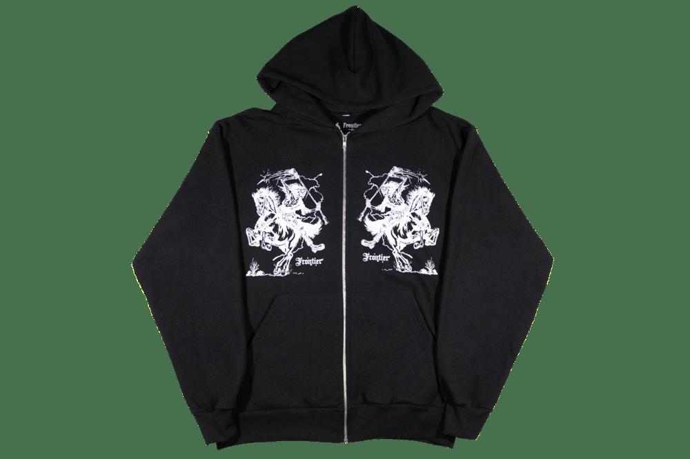 Image of Reaper Zip Up Hoodie Black