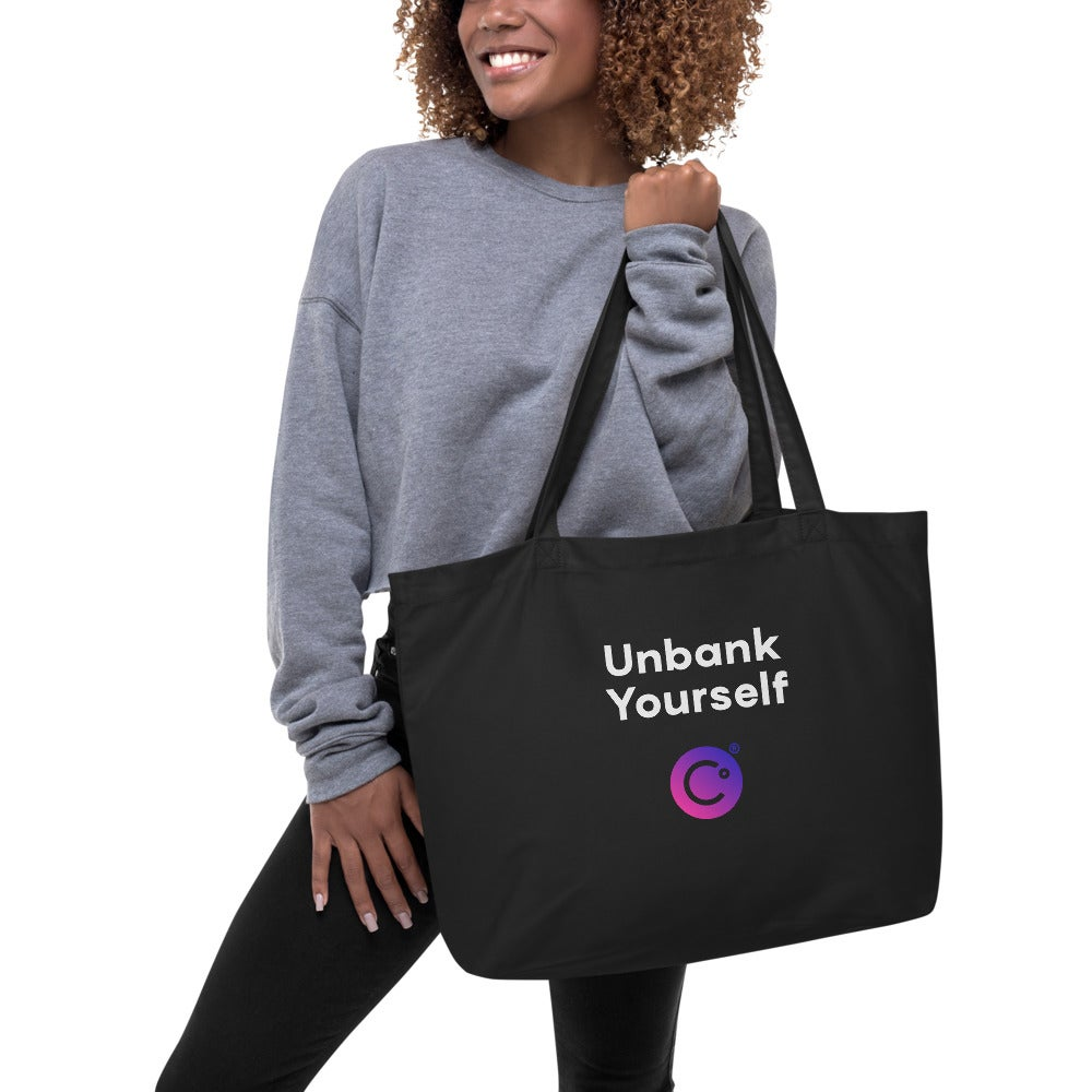Image of Unbank Yourself Large Organic Black Tote