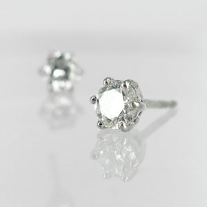 Image of 14K white gold 2 = .80ct Diamond stud earrings. Pj5751