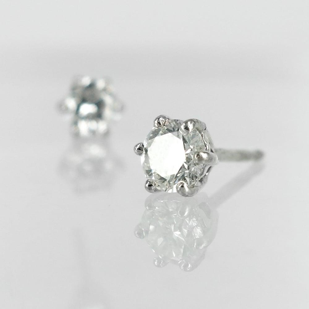Image of 14K white gold 2 = .80ct Diamond stud earrings. Pj5751