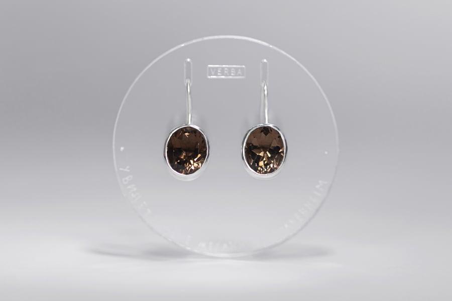 "Image of ""Stellar navigation"" silver earrings with smoky quartz · STELLAE AURIGANTES ·"