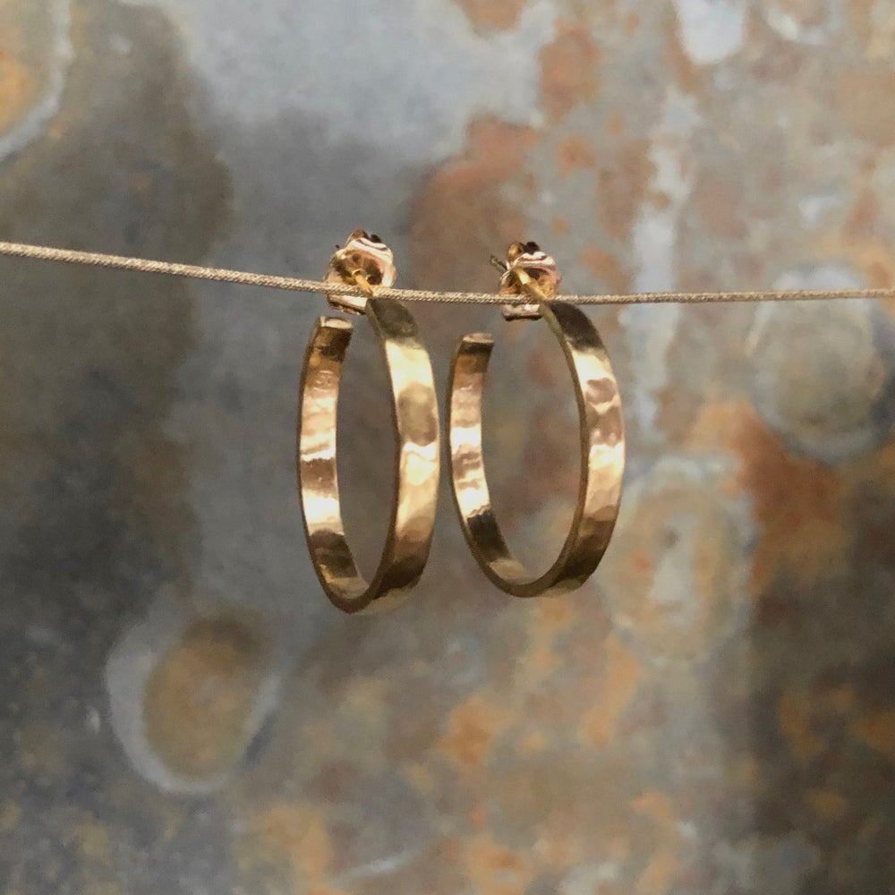 Image of Wide 18K Hammered Hoops